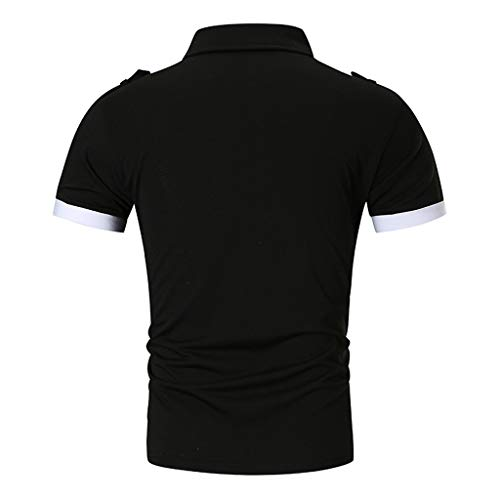 Emimarol Men's Summer Blouse Casual Slim Button Shirts Short Sleeve Solid T Shirt Top Blouse Black