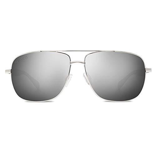 Abaco Austin Sunglasses Silver/Dark Grey Wood Style Frame Polarized Chrome Mirror Lenses ()