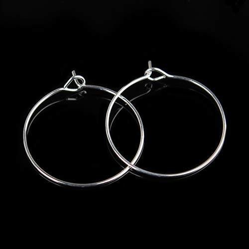 Laliva 100pcs/lot 20mm Classic Fashion Ladies Small Round Loop Hoop Circle Earrings Iron Ear Wire Hooks DIY Jewelry Material F2399 - (Color: Silver, Ships from: China, Size: 25mm) (Hoop 25 Round Mm)