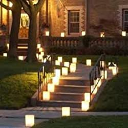 Luminary Set - 100 White Christmas Luminary Bags & 100 Tealight Candles Kit