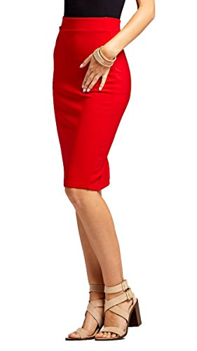 Conceited Premium Stretch Pencil Skirt - 10 Colors - by (Small, Red) Back Slit Stretch Skirt
