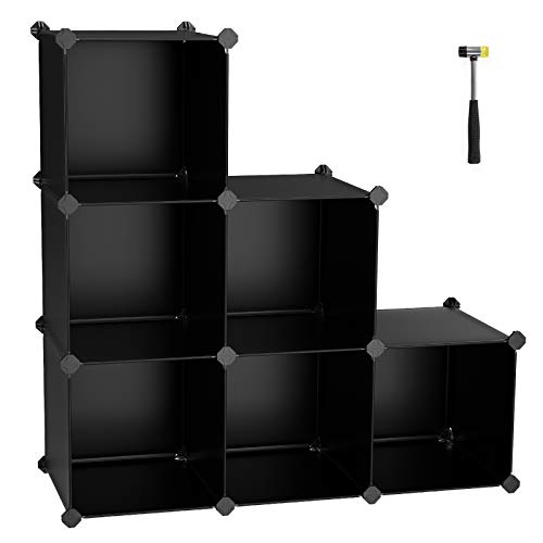 e Organizer, 6-Cube Closet Storage Shelves, DIY Plastic Closet Cabinet, Modular Bookcase, Storage Shelving for Bedroom, Living Room, Office, Black with Rubber Hammer Black ULPC06H ()