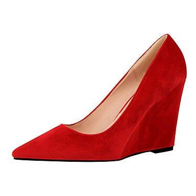 Rojo Cuña gris ante Borgoña vestido ggx Verde Mujer Ruby tacón confort tacones Lvyuan Rosa qtxzag6Anw