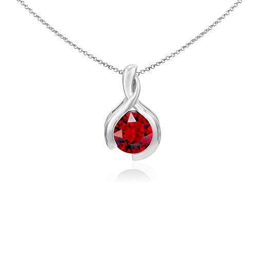 (Sea of Ice Sterling Silver 8mm Round Created Ruby Pendant Necklace for Woman, 18 Inch)