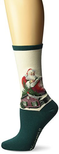 Hot Sox Women's Norman Rockwell Collection Crew Socks, Good Deeds (Hunter), Shoe 4-10/Sock Size 9-11