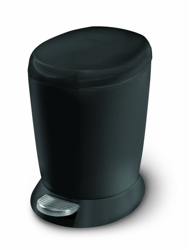 simplehuman Mini Round Step Trash Can, Black Plastic, 6L / 1.6 Gal