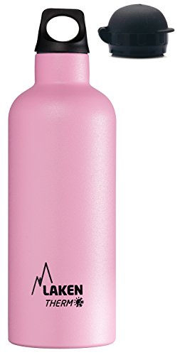 Laken Thermo Double Wall Vacuum Insulated Stainless Steel Water Bottle, Narrow Mouth with BPA Free Screw Cap Plus Sport Cap, 17oz Pink