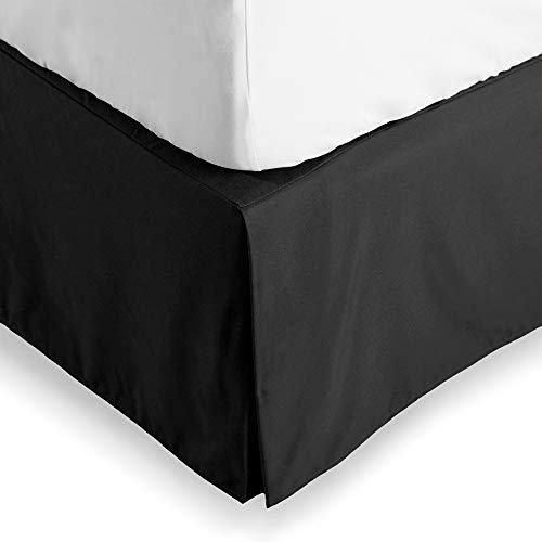 Bare Home Bed Skirt Double Brushed Premium Microfiber, 15-Inch Tailored Drop Pleated Dust Ruffle, 1800 Ultra-Soft Collection, Shrink and Fade Resistant (Full, Black)
