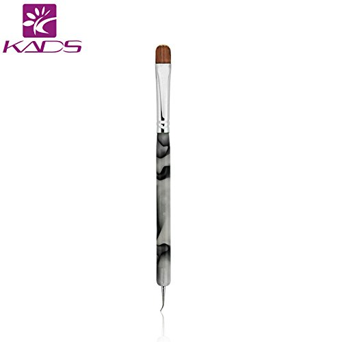 KADS Kolinsky Sable Brush 2 Way Acrylic Professional French Manicure Clean-up Brush Nail Art Brush Bend Nail Dotting Pen ()