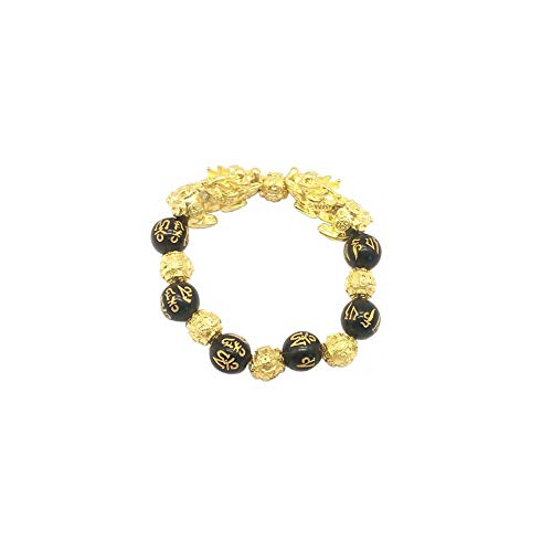 Natural Stone Black Obsidian Pixiu Bracelet with Tiger Eye and Double Pixiu Lucky Brave Troops Charms Jewelry for Women & Men