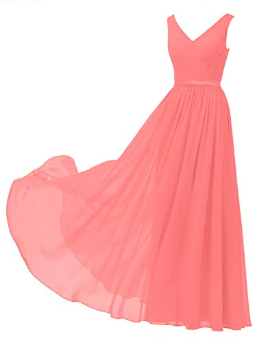 Alicepub V-Neck Chiffon Bridesmaid Dress Long Party Prom Evening Dress Sleeveless, Coral Pink, US10