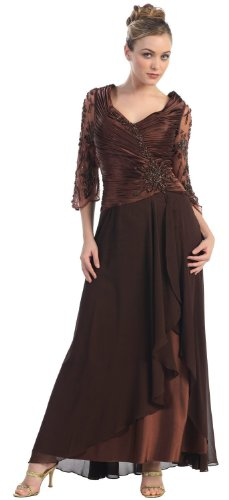 Mother of the Bride Formal Evening Dress #552 (3XL, Brown)