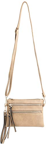 with Camel Strap and Pocket Crossbody Removable Bag Everyday DELUXITY Wristlet Multi fwvxWXO