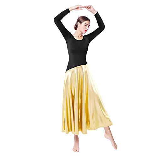Metallic Color Block Praise Dance Dresses for Women Long Sleeve Full Length Liturgical Lyrical Ballet Dancewear Loose Fit Ruffle Swing Gown Tunic Circle Skirt Ballroom Worship Costume Black+Gold XXL