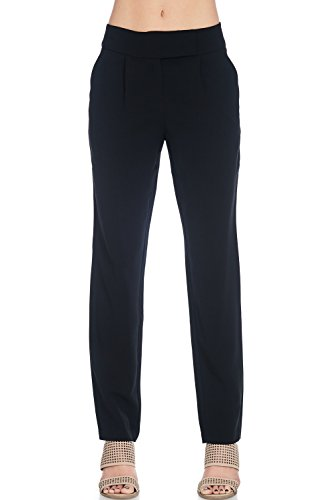 Alexander + David A+D Womens Straight Leg Pleated Dress Trouser Pant W/Pockets (Black, X-Small) - Pleats Straight Leg Trousers