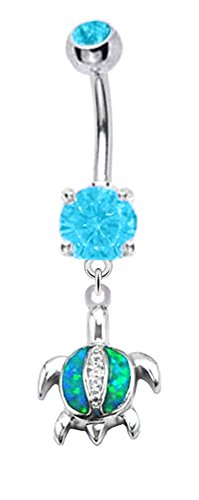 - Pretty Sparkling Blue fire Opal Cz Turtle dangle Belly button navel Ring piercing bar body jewelry 14g
