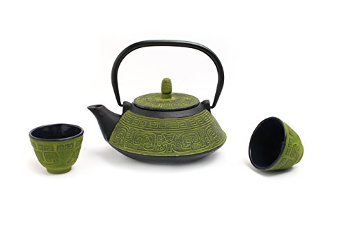 Guro Green Cast Iron Teapot And Cups Set 33 Ounces 1L Kettle