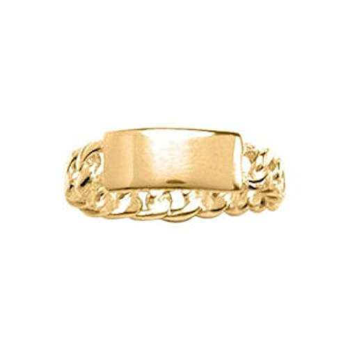 18k Plate Gold Vermeil (So Chic Jewels - Vermeil - Silver Gilt (18k Gold over 925 Sterling Silver) Rectangular Plate Chain Band Ring - Customisable: Your Message Engraved Free - Size 10)