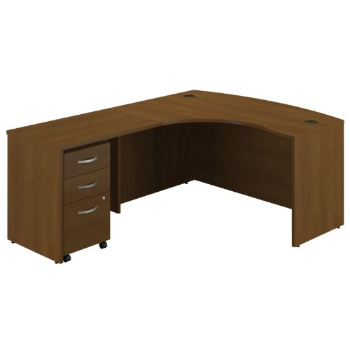 Bush Business Furniture Series C 60W Left Hand Bowfront L-Desk with 36W Return Bridge and 3 Drawer Mobile (Hand 3 Drawer Pedestal)