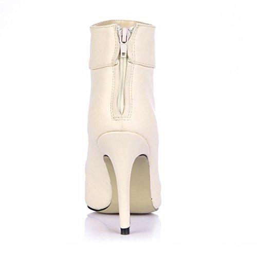 Best 4U® Sandali da donna Primavera Premium PU Punta a punta 9.7 CM Tacchi alti Suola di gomma Pompe Scarpe Albicocca