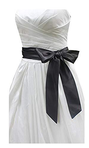 Satin Dress Tie Silk (Wedding satin sash belt for special occasion ddress bridal sash (Black))