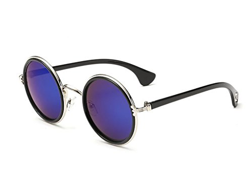 Gafas Yxsd Sol Frame Glasses 5 Metal Classic Round de Unisex polarizadas Sun Retro Color 8 RpqdxAwp