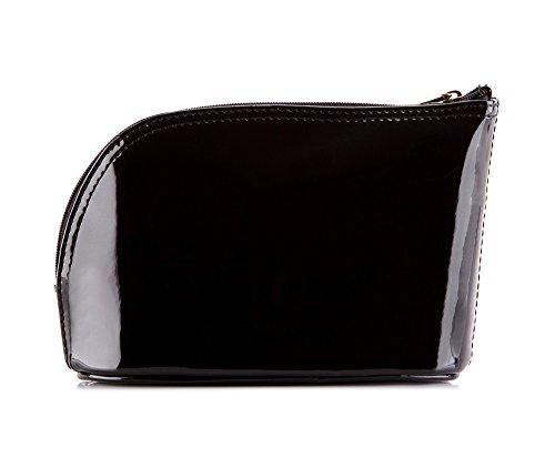 WITTCHEN Sacchetto cosmetico - Nero | 12x18 cm, Pelle verniciata, Verona - 25-3-275-1
