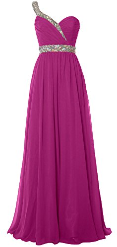 Long Prom Elegant 2018 Chiffon Formal Evening One Gown Shoulder Fuchsia Dress MACloth WpCq6dq