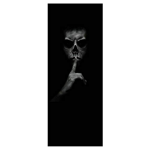 TYHON Door Mural Halloween Ghost Door Sticker Peel and Stick Wallpaper Door Decal Horrible Skull Adhesive Room Decors Removable Home Decoration 35.5x78.8 inches]()