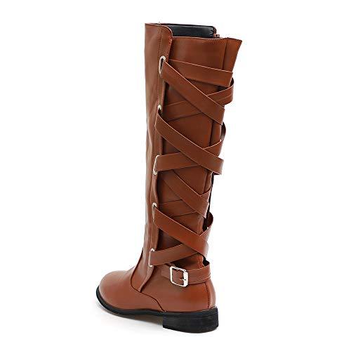 Cowboy Romaine Longues Bottes Martin Marron Chaussures Boucle Femmes Cavalire Hautes t1ZXxq