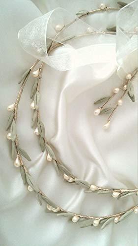 Rustic olive stefana greek wedding bridal crowns Pair 2 (Crowns Orthodox Wedding)