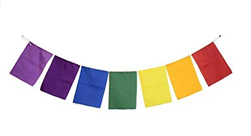 (Blank Prayer Flags Set of 10 Flags Put Your own Prayers (Seven Chakra))