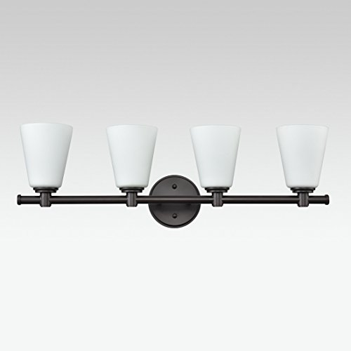 AXILAND Vanity Lighting 4 Light Oil Rubbed Bronze Wall Sconce with Opal Glass Shade by AXILAND (Image #4)
