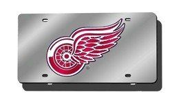 Detroit Red Wings Laser Cut Silver License Plate
