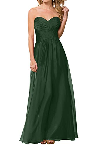 Herzausschnitt Chiffon La Neuheit Dunkel Gruen Abendkleider Braut Marie Brautjungfernkleider Bodenlang Ballkleider qwqP71SC