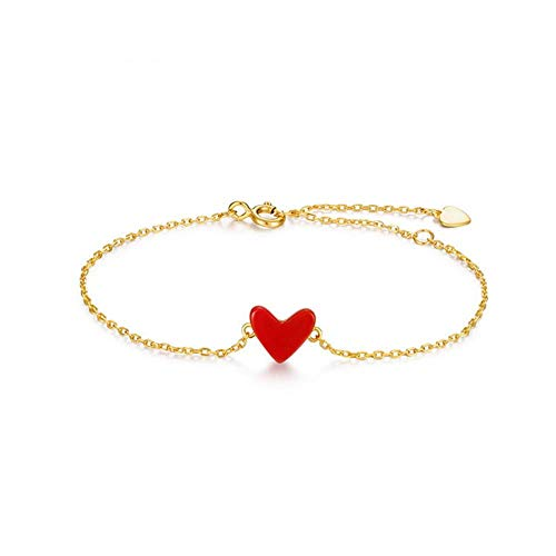 Yan Yang Red Heart Bracelet S925 Sterling Silver Plated 9K Gold Bracelet Synthetic Red Coral Love Female Bracelet Send - Heart Bracelet 9k
