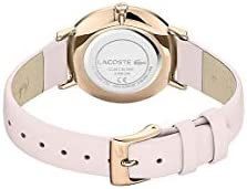Lacoste Women's Moon Stainless Steel Quartz Watch with Leather Calfskin Strap, Pink, 16 (Model: 2001113) 3