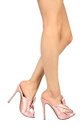 Women Heels Pink Tie High Toe Slip Satin on Over Peep Liliana Tavi75 Cross Dusty UOq8nfwvF