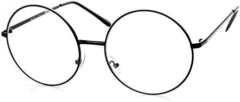 dbf737ad16 TRIXES Gafas Redondas con Lentes Transparentes y Estructura de Metal Negro  - Unisex, Geeky, Retro, Vintage - Accesorio de Moda - Ideal para Halloween  o ...