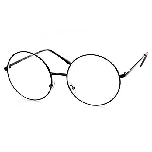 - TRIXES Black Unisex Round Metal Clear Geek Glasses Retro Sixties Vintage Lennon Style Accessory Specs