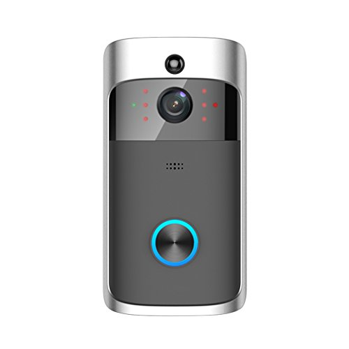 YUZES WiFi Video Doorbell with Anti-Theft Truly Wire-Free Camera,Support Smartphone Remote Monitoring,Two-Way Talk and Video, Night Vision, PIR Motion Detection,APP Control