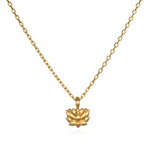 - Satya Jewelry Women's Gold Lotus Pendant 16 inch Necklace, One Size