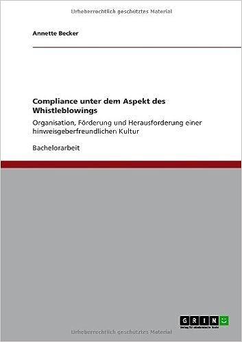 Book Compliance Unter Dem Aspekt Des Whistleblowings (German Edition)