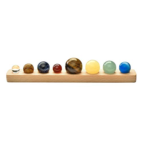 Jovivi Natural Gemstone 8 Planets Crystal Sphere Ball with Wood Base Display Handmade Desk Planets Crystal Home/Office -