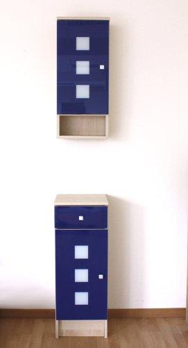 2tlg Badezimmerschrank Hangeschrank Blau Amazon De Kuche Haushalt