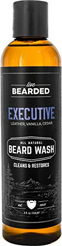 Live Bearded: Beard Wash - Executive - Beard and Face Wash - 8 fl. oz. - Water-Based Formula with All-Natural Ingredients for a Gentle, Deep Cleanse - Made in the USA