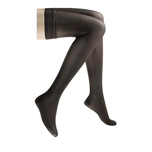 - JOBST UltraSheer Thigh High with Lace Silicone Top Band, 20-30 mmHg Compression Stockings, Closed Toe, Small, Classic Black