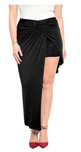 Black-Assymetric-Rita-Wrap-Drop-Cutaway-Short-Mini-Front-Long-Back-Skirt-Size-14-18