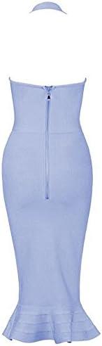 Whoinshop Women's Halter Sleeveless Mermaid Bodycon Bandage Cocktail Midi Dress