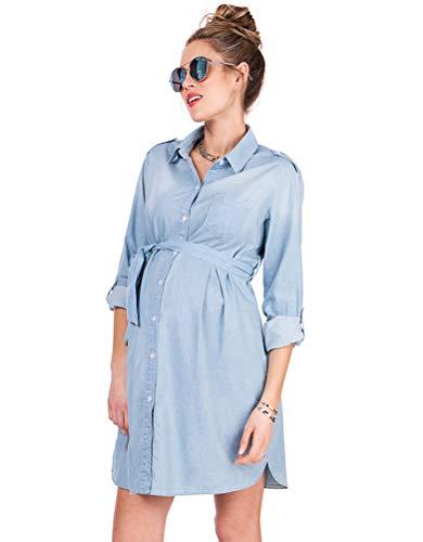 Seraphine Women's Light Chambray Belted Maternity Shirt Dress Size 6